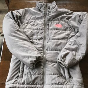 EUC north face gray with mean pink logo size S